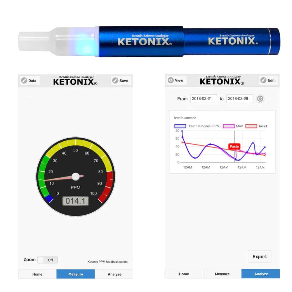 Ketonix hengityksen ketomittari ja tulosten tulkintaan saatava mobiiliapplikaatio